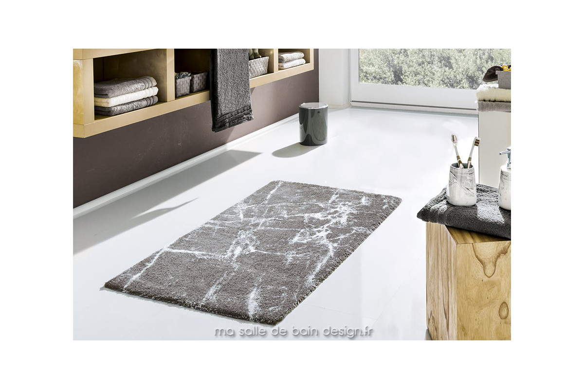 tapis de bains 100 coton design marbr gris platine como. Black Bedroom Furniture Sets. Home Design Ideas