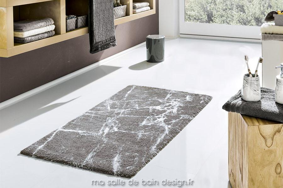 tapis de bains 100% coton design marbré gris platine - como