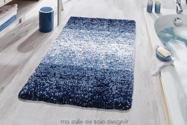 Tapis de bain original bandes dégradées de bleu - Oslo Bleu