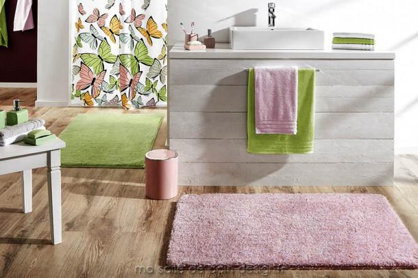 Tapis salle de bains design moelleux rose - Seattle