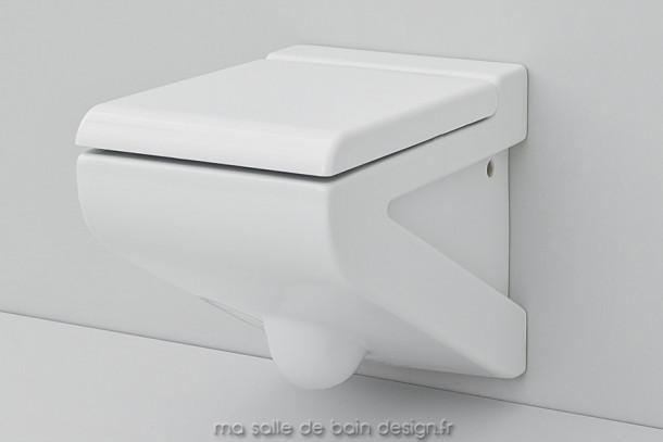 Toilettes suspendues design La Fontana céramique blanche 36x54cm - Artceram