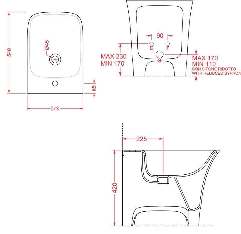 Bidet Céramique Artceram Cow - schéma des dimensions
