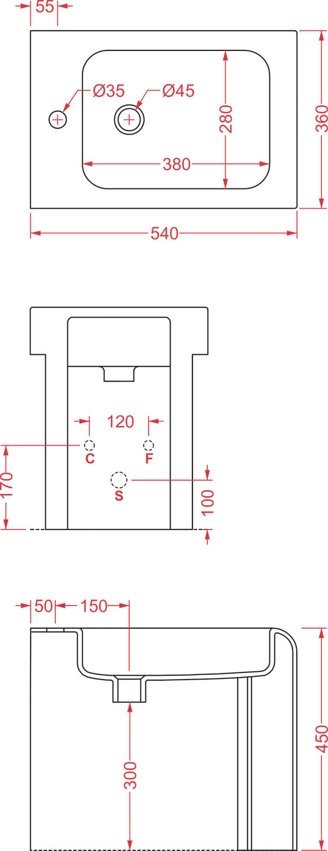 Bidet à poser Céramique Artceram La Fontana - schéma des dimensions