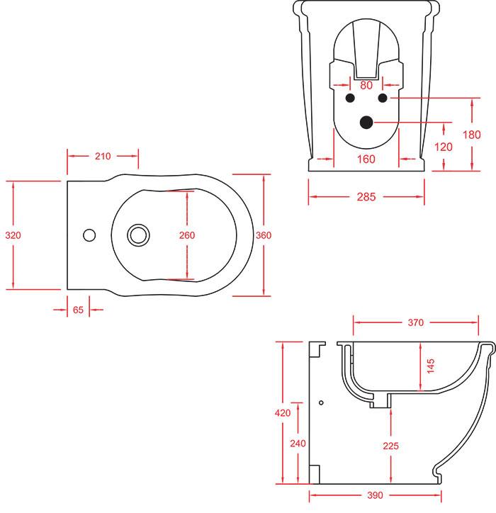 Bidet rétro Céramique Artceram Hermitage - schéma des dimensions