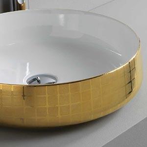 Vasque à poser céramique Cognac Or Mosaique