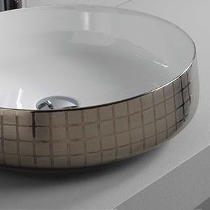 Vasque à poser céramique Cognac Platine Mosaique