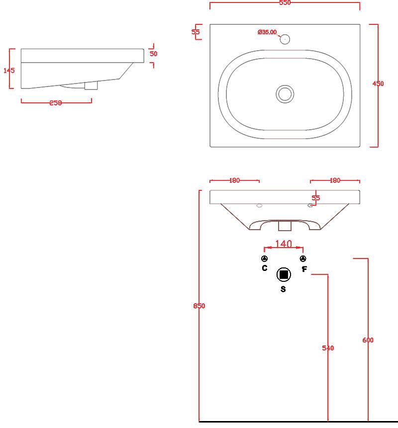 Plan vasque Artceram Blend 55 x 45 cm - schéma des dimensions