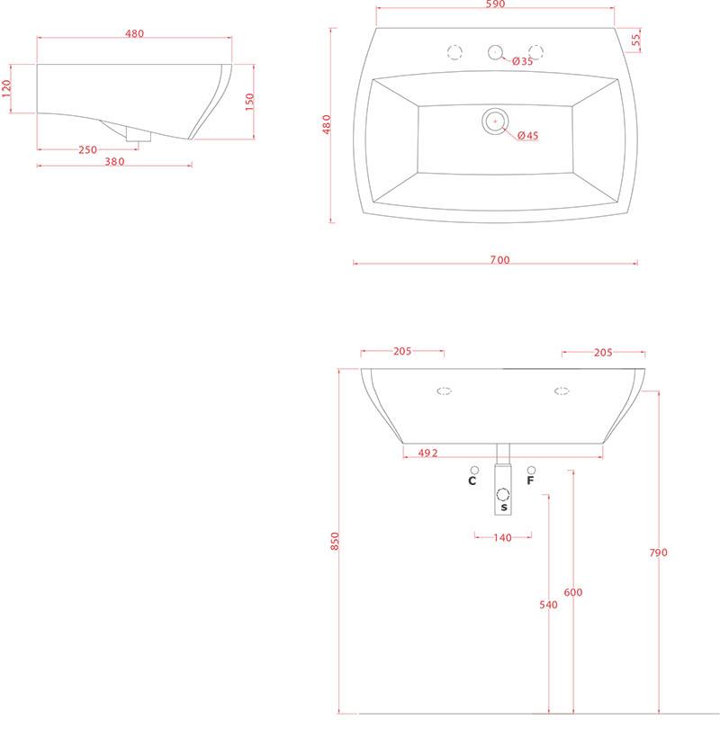 Lavabo suspendus Artceram Jazz 70 x 48 cm - schéma des dimensions