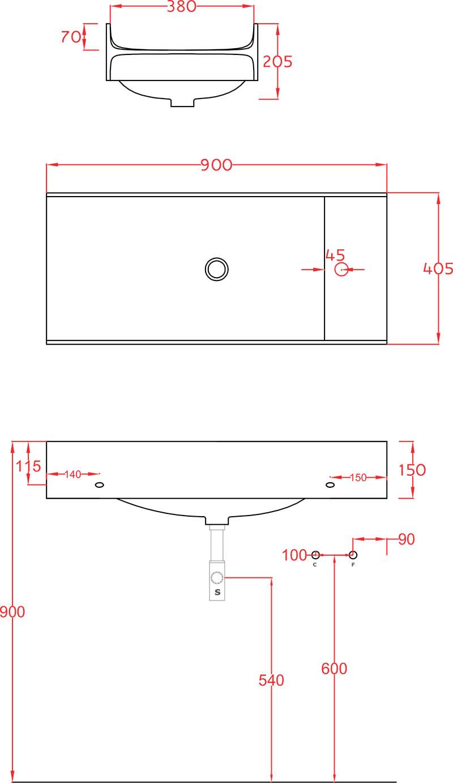 Plan vasque Artceram Solid Surface TT 90 x 40 cm - schéma des dimensions