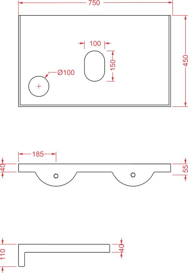 Plan céramique Breakfast Artceram - Schéma des dimensions