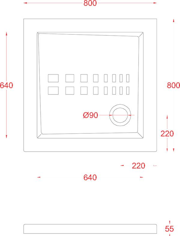 Receveur Céramique Artceram carré 80 x 80cm - schéma des dimensions