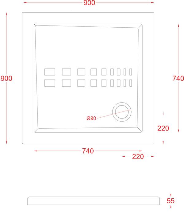 Receveur Céramique Artceram carré 90 x 90cm - schéma des dimensions