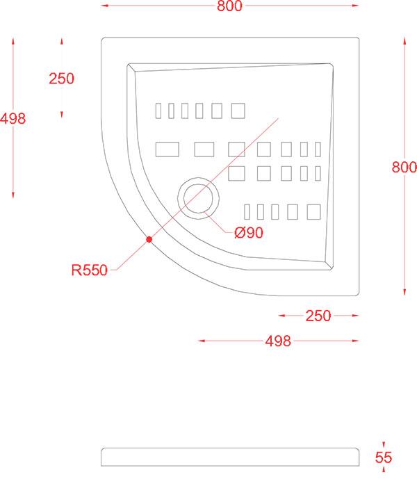 Receveur Céramique Artceram quart de cercle 80 x 80cm - schéma des dimensions