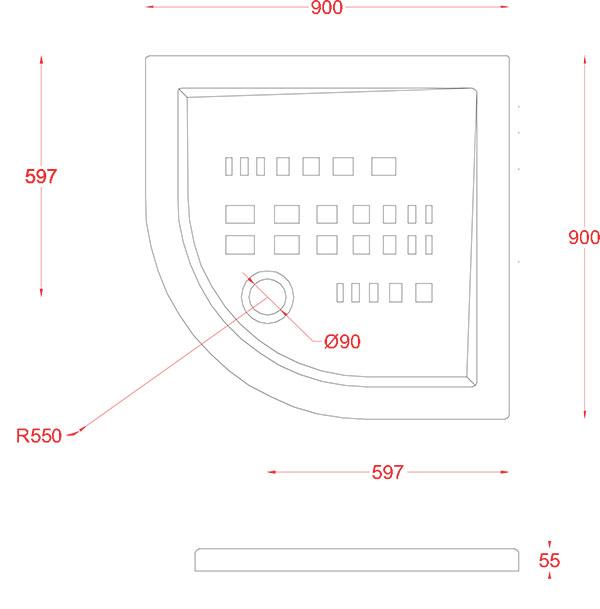 Receveur Céramique Artceram quart de cercle 90 x 90cm - schéma des dimensions