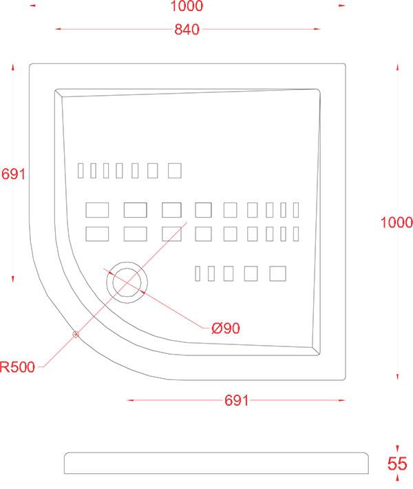 Receveur Céramique Artceram quart de cercle 100 x 100cm - schéma des dimensions