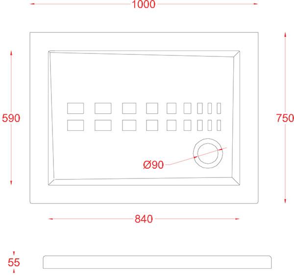 Receveur Céramique Artceram rectangle 100 x 75cm - schéma des dimensions