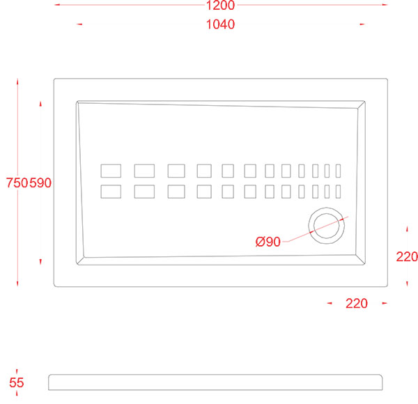 Receveur Céramique Artceram rectangle 120 x 75cm - schéma des dimensions