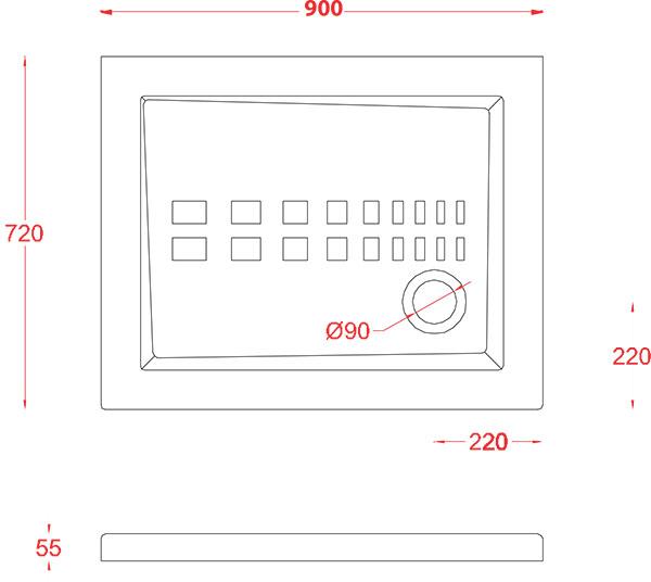 Receveur Céramique Artceram rectangle 90 x 72cm - schéma des dimensions