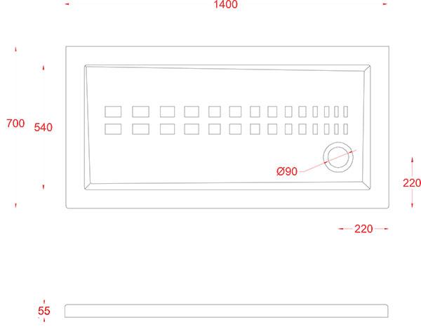 Receveur Céramique Artceram rectangle 140 x 70cm - schéma des dimensions