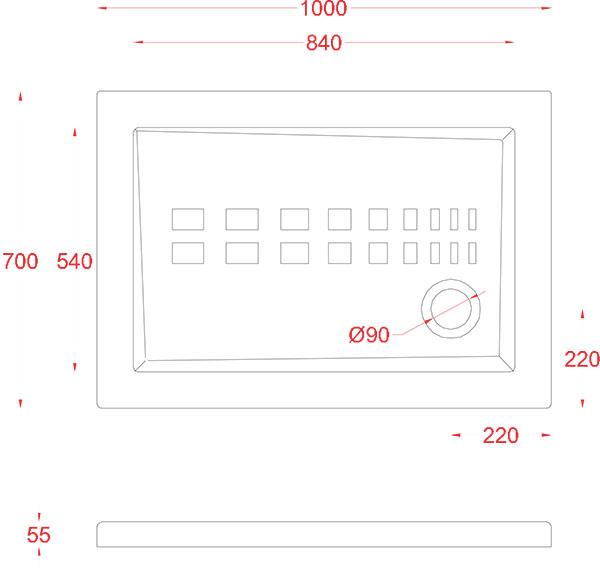 Receveur Céramique Artceram rectangle 100 x 70cm - schéma des dimensions