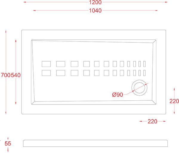 Receveur Céramique Artceram rectangle 120 x 70cm - schéma des dimensions