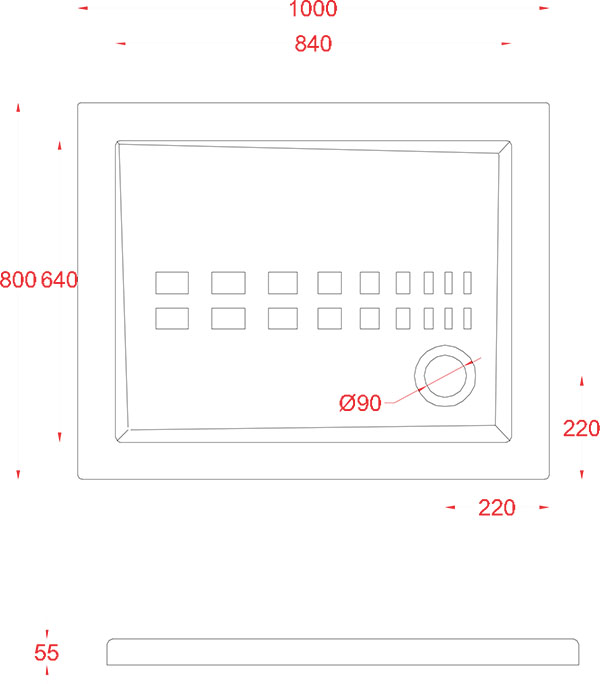 Receveur Céramique Artceram rectangle 100 x 80cm - schéma des dimensions