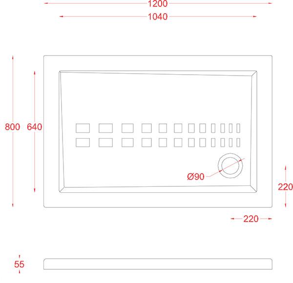 Receveur Céramique Artceram rectangle 120 x 80cm - schéma des dimensions