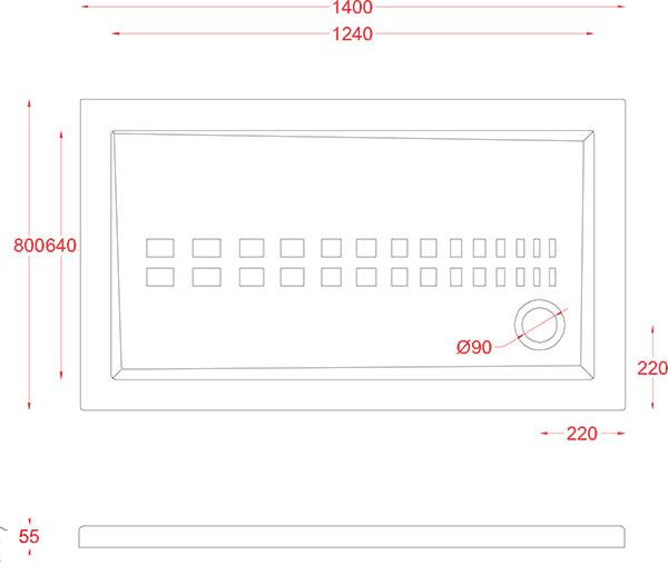 Receveur Céramique Artceram rectangle 140 x 80cm - schéma des dimensions