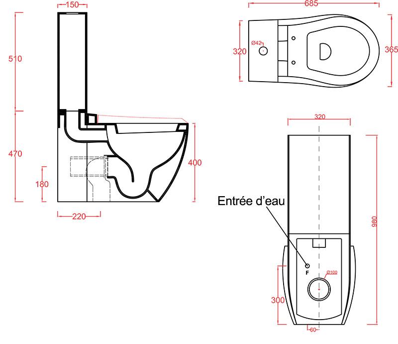 Toilettes Céramique Artceram Blend - schéma des dimensions