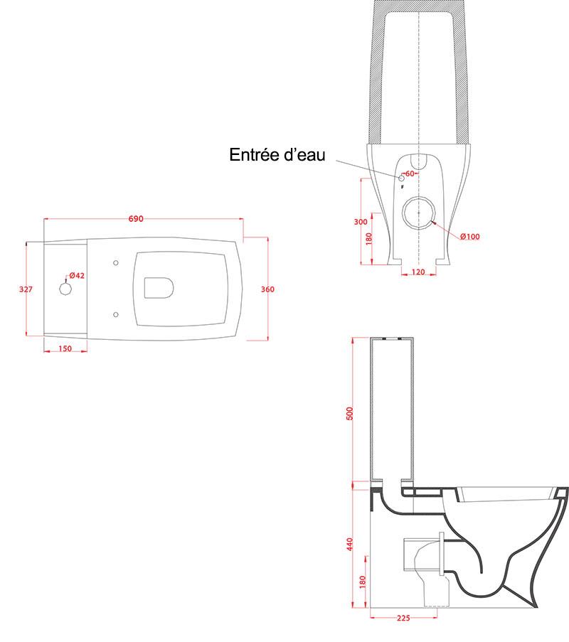 Toilettes Céramique Artceram Jazz - schéma des dimensions