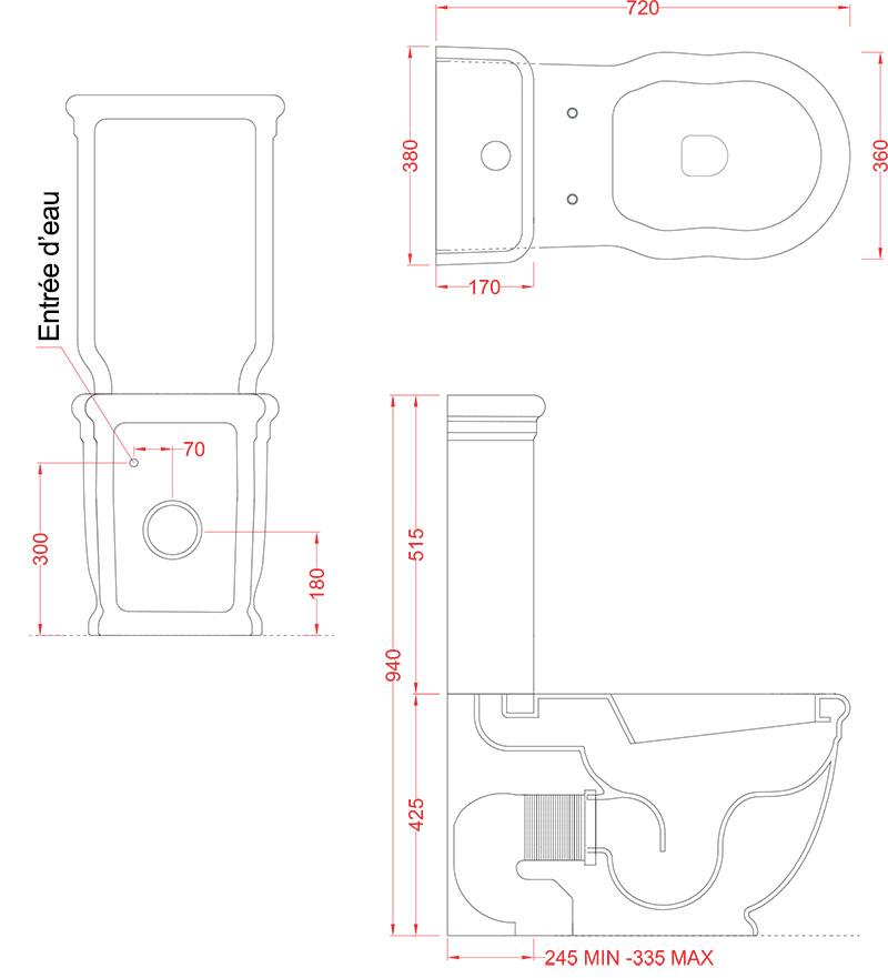 Toilettes Céramique Rétro Artceram Hermitage - schéma des dimensions
