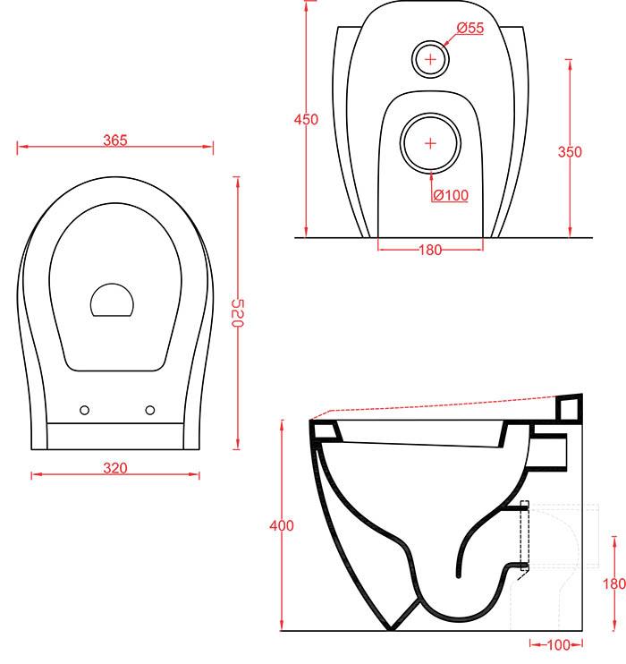 Cuvette WC à poser Céramique Artceram Blend - schéma des dimensions