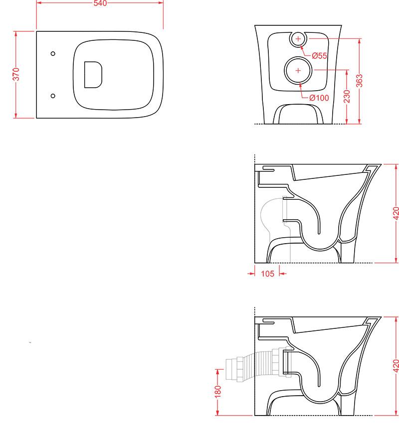 WC Céramique Artceram Cow - schéma des dimensions