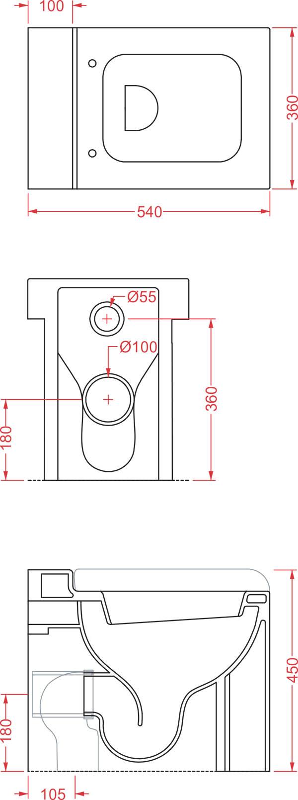 WC Céramique Artceram La Fontana - schéma des dimensions