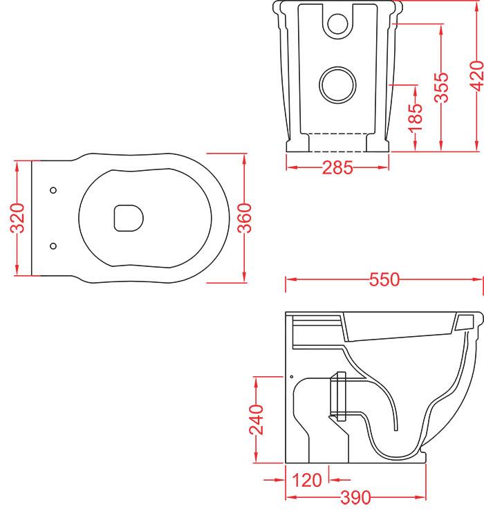 WC Céramique Artceram rétro Hermitage - schéma des dimensions