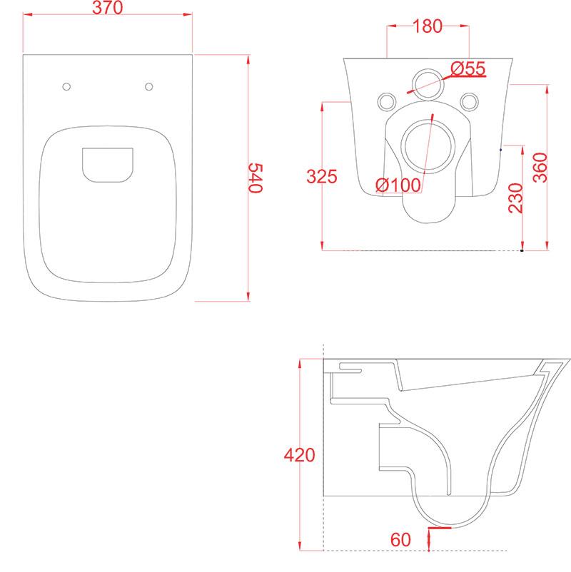 Cuvette WC suspendue Céramique Artceram Cow - schéma des dimensions