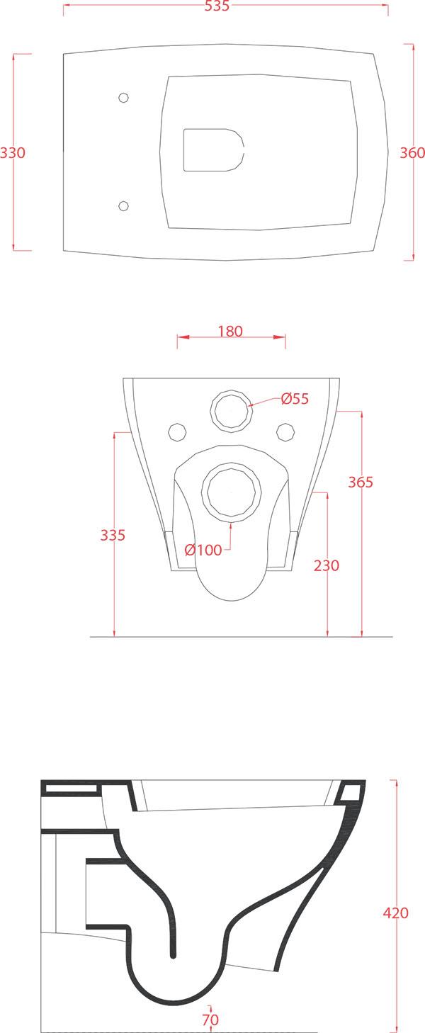WC suspendus Céramique Artceram Jazz - schéma des dimensions