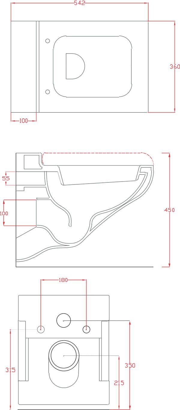 WC suspendus Céramique Artceram La Fontana - schéma des dimensions