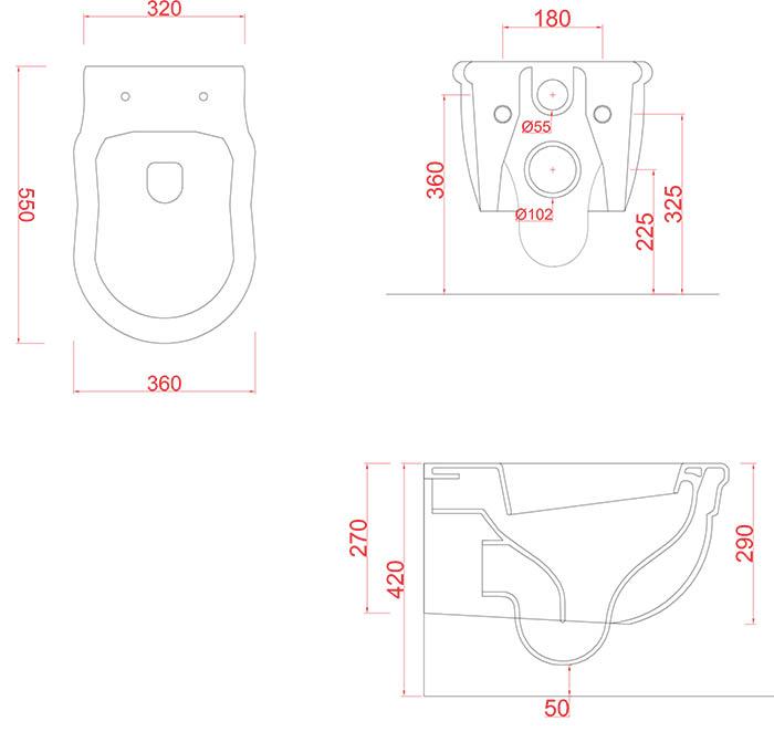 WC suspendues Céramique Artceram rétro Hermitage - schéma des dimensions