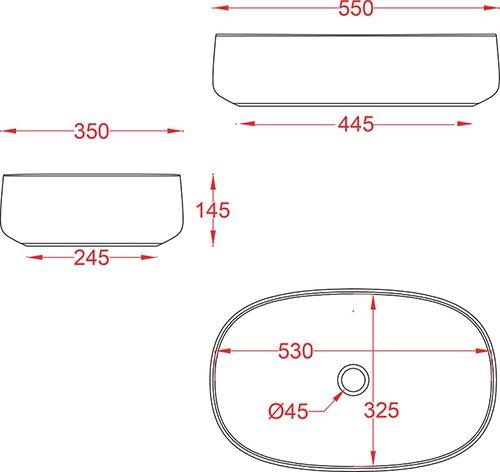 Schéma vasque ovale 55cm x 35cm à poser Cognac Artceram