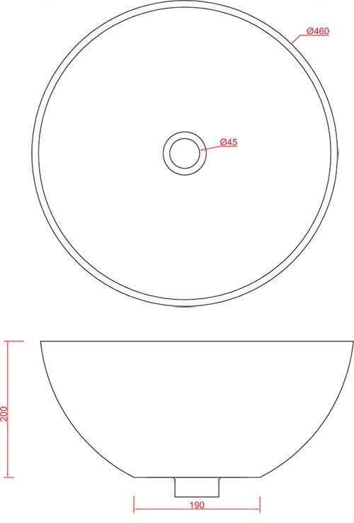 Vasque Artceram La Ciotola 46 cm - schéma des dimensions
