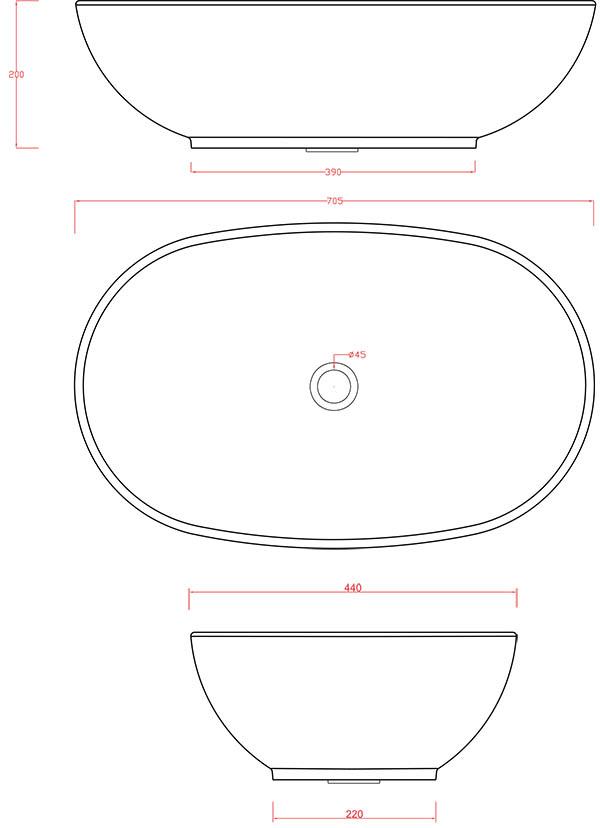Vasque Artceram La Ciotola 70 x 44 cm - schéma des dimensions
