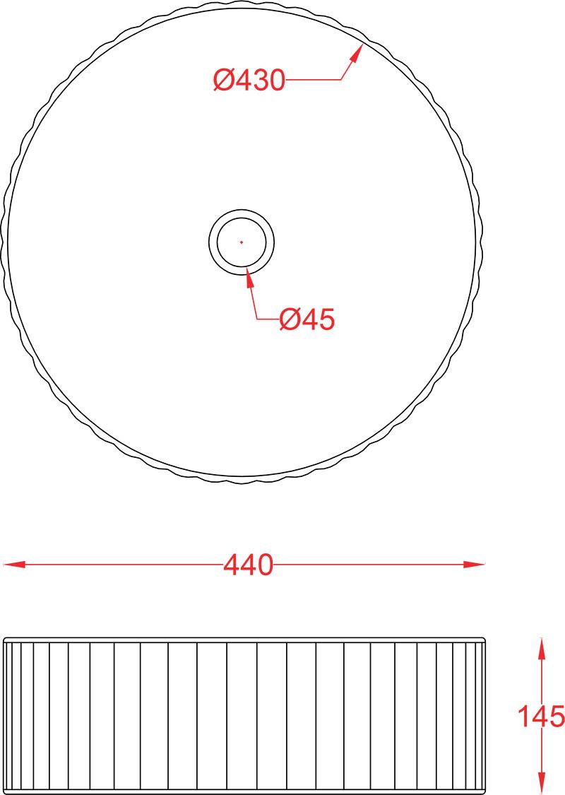 Schéma vasque ronde 44cm à poser Millerighe Artceram