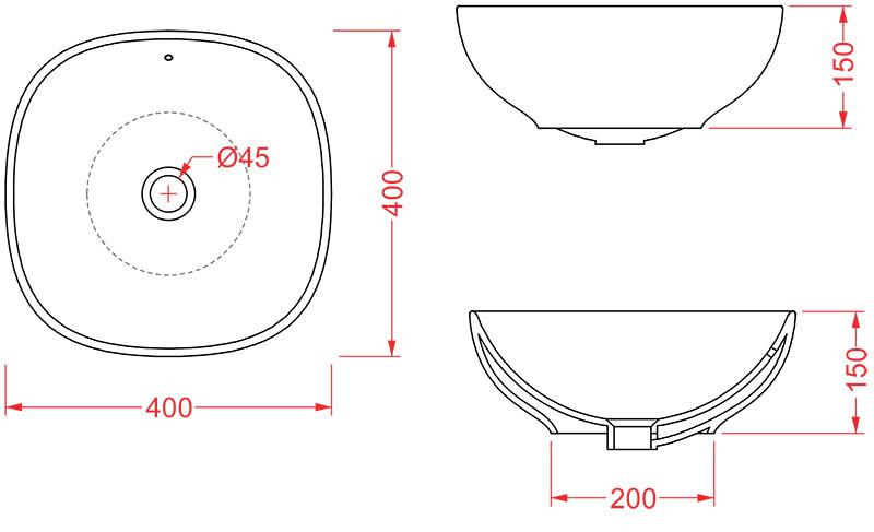 Vasque Artceram NF 40 x 40cm - schéma des dimensions