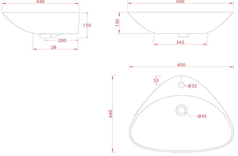 Vasque Artceram Plettro 60 x 45cm - schéma des dimensions