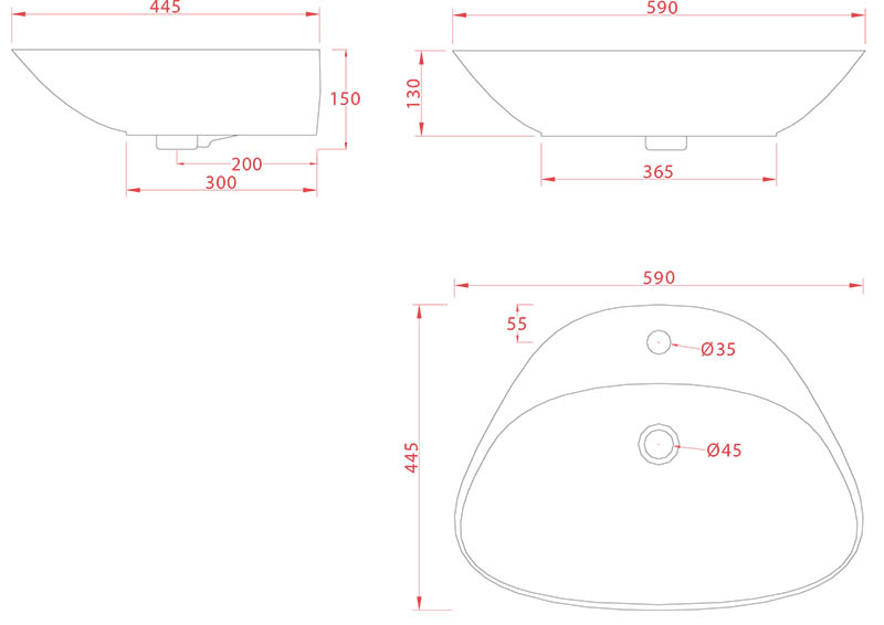 Vasque Artceram Plettro Quadro 59 x 45cm - schéma des dimensions