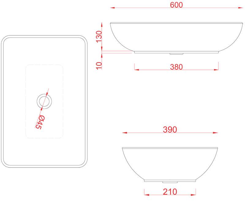 Vasque Artceram Tai 60 x 39cm - schéma des dimensions