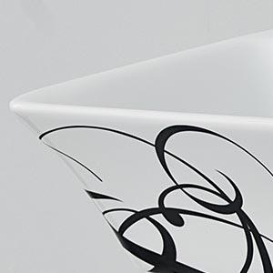 Vasque Cow céramique blanche et arabesques noires