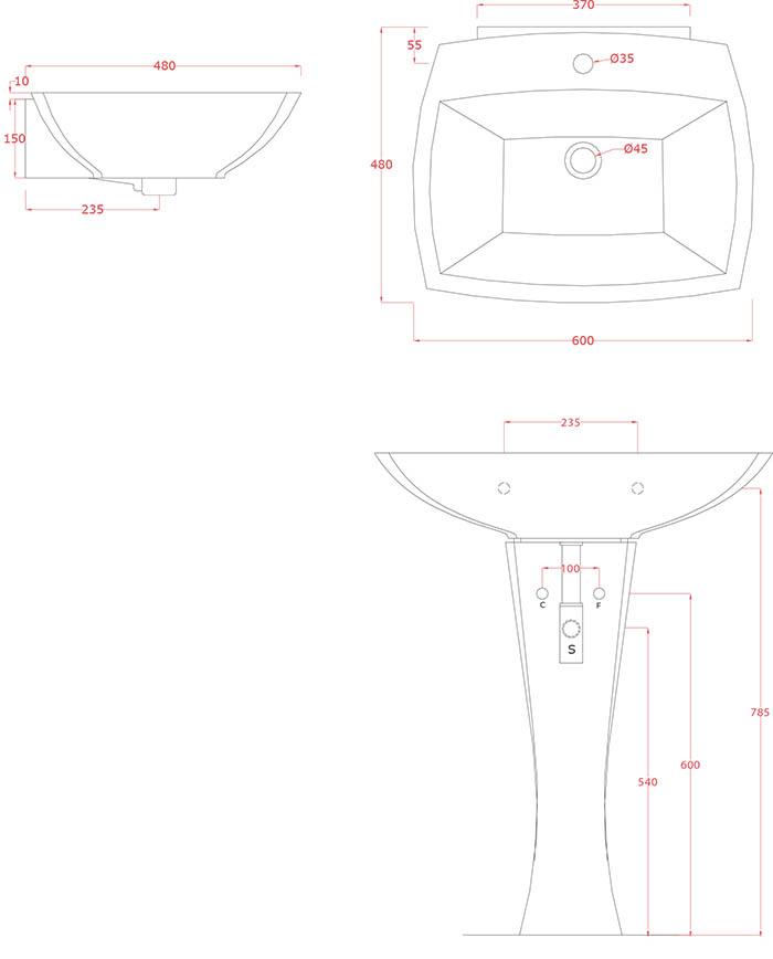 Vasque colonne design Jazz 60 d'Artceram - Schéma des dimenions