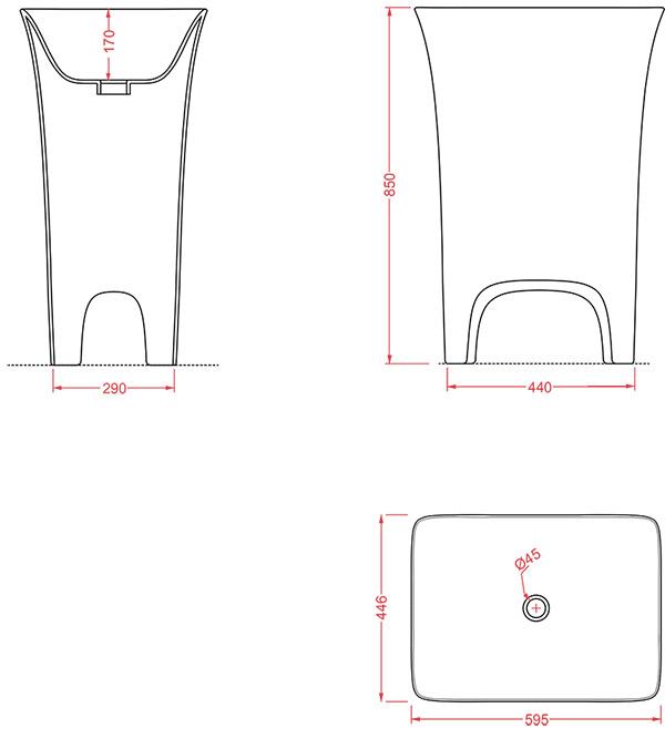 Vasque sur pieds design Cow d'Artceram - Schéma des dimenions